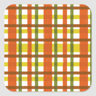 Retro 70s Orange Yellow Plaid Square Sticker