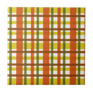 Retro 70s Orange Yellow Plaid Tile
