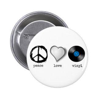 Retro 70s Peace Love Vinyl Pinback Button