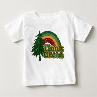 Retro 70s Rainbow, Think Green Baby T-Shirt