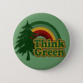 Retro 70s Rainbow, Think Green Pinback Button