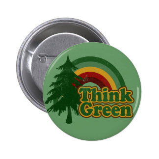 Retro 70s Rainbow, Think Green Pinback Button