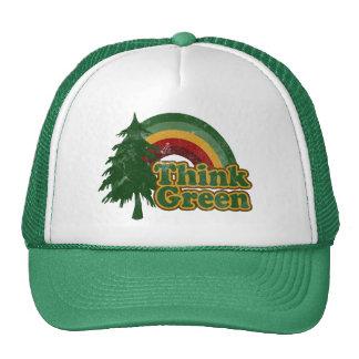Retro 70s Rainbow, Think Green Trucker Hat
