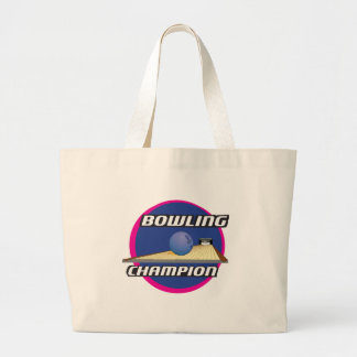 Retro 70's Style Bowling Champion Large Tote Bag