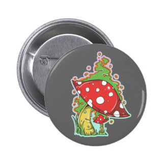 Retro 70's Tattoo Mushroom 2 Inch Round Button