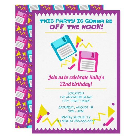 retro 80 s and 90 s birthday invitation zazzle com