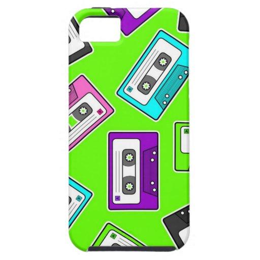 "Retro 80""s Mixtape Print - Green Background iPhone 5 Cases"