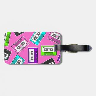 """Retro 80""""s Mixtape Print - Pink Tag For Luggage"""