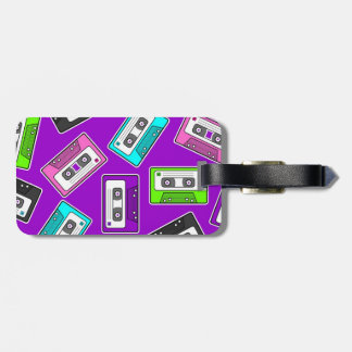 "Retro 80""s Mixtape Print - Purple Luggage Tag"