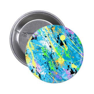 Retro 80 s Paint Splatter - Blue Button