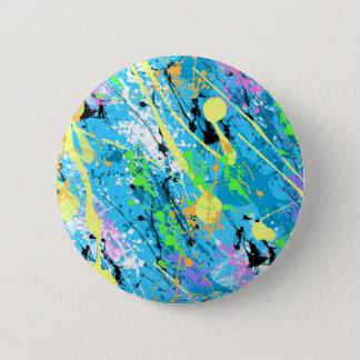 """Retro 80""""s Paint Splatter - Blue Pinback Button"""