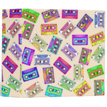 Retro 80's 90's Neon Patterned Cassette Tapes Binder