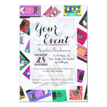 Retro 80's 90's Neon Patterned Cassette Tapes Invitation