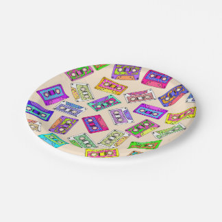 Retro 80's 90's Neon Patterned Cassette Tapes Paper Plate