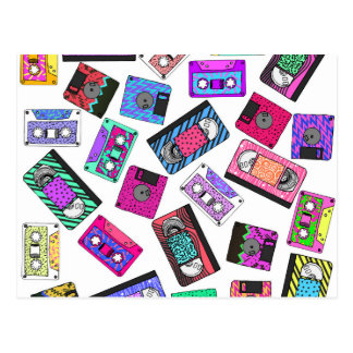 Retro 80's 90's Neon Patterned Cassette Tapes Postcard