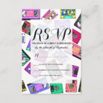 Retro 80's 90's Neon Patterned Cassette Tapes RSVP Card