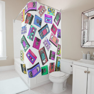 Retro 80's 90's Neon Patterned Cassette Tapes Shower Curtain