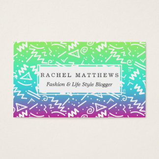 Retro 80's 90's Neon Rainbow Sketched Doodle Business Card