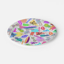 Retro 80's 90's Summer Beach Collage Pattern Paper Plate
