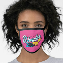 """Retro 80's """"Believe In Wonder"""" Graphic Face Mask"""