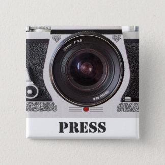 Retro 80s Camera Effect Media and Press Badge Pinback Button