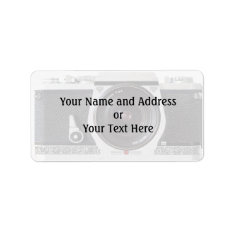 Retro 80s Camera Effect Name And Address Label at Zazzle