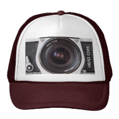 Retro 80s Camera Head Cam Effect On A Hat at Zazzle