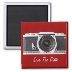 Retro 80s Camera On A Save The Date Magnet at Zazzle