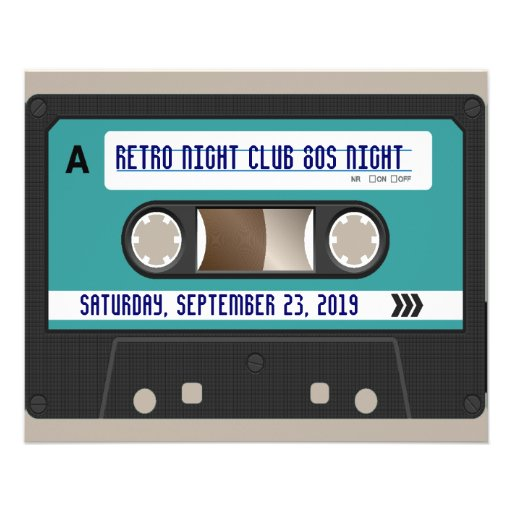 """Retro 80s Cassette Mixtape Personalized 4.5"""" X 5.6"""" Flyer"""