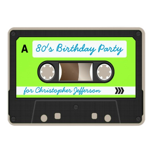 retro 80s cassette tape birthday party invitation 4 5 x