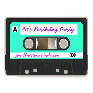 Retro 80s Cassette Tape Birthday Party Invitation