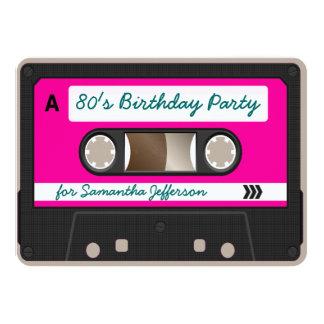 Retro 80s Cassette Tape Birthday Party Invitation