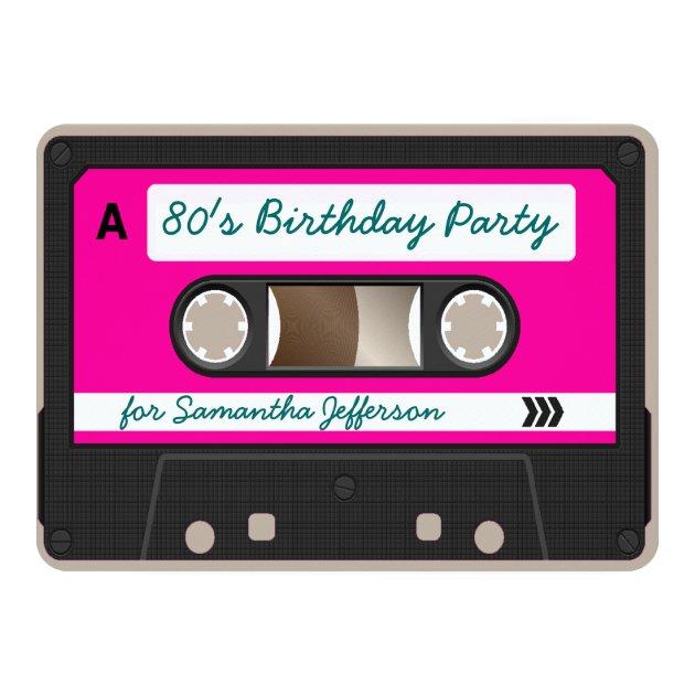 Retro 80s Cassette Tape Birthday Party Invitation   Zazzle.com