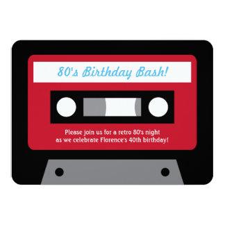 Retro 80s Cassette Tape Birthday Party Invitations