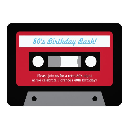 Retro 80s Cassette Tape Birthday Party Invitations Zazzlecom