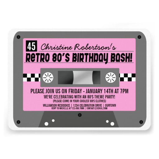Personalized Cassette Tape Invitations Custominvitations4u Com