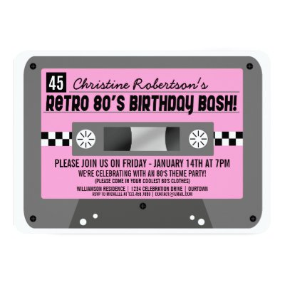 Cassette Tape Invitation 80s Party Invitation Zazzlecom