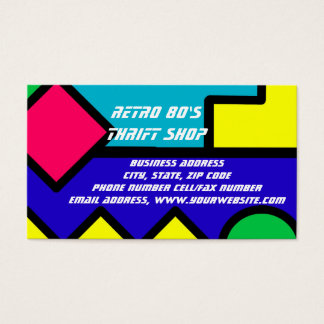 Retro 80s Color Block Clothing Fashion Trends Business Card