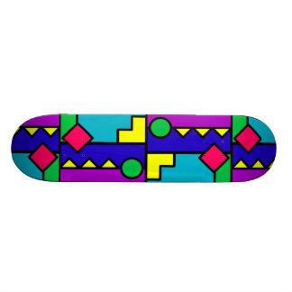 Retro 80s Color Block Skateboard Deck