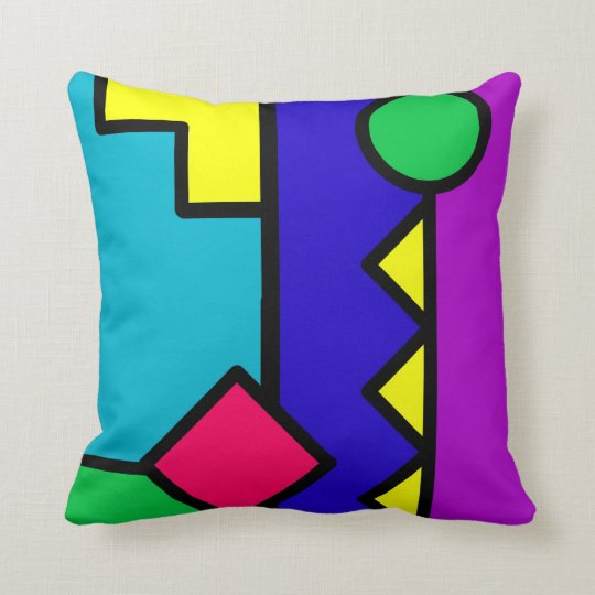 Retro 80s Color Block Throw Pillow