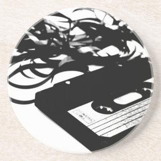 Retro 80's Design - Audio Cassette Tape Sandstone Coaster