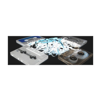 Retro 80's Design - Audio Cassette Tapes Canvas Print