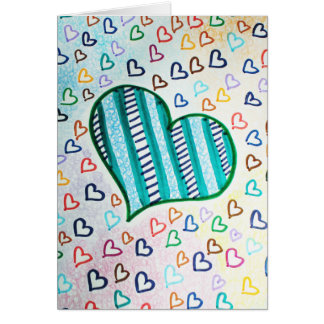 Retro 80s hearts for Valentines day Card