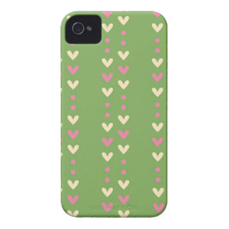 Retro 80s hearts pink and green striped Fair Isle iPhone 4 Case