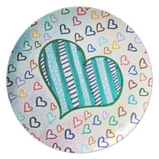 Retro 80s hearts plates