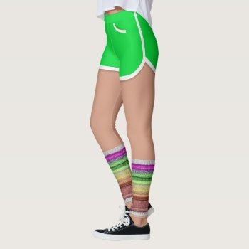 Retro 80s Leg Warmers Green Sport Shorts Leggings