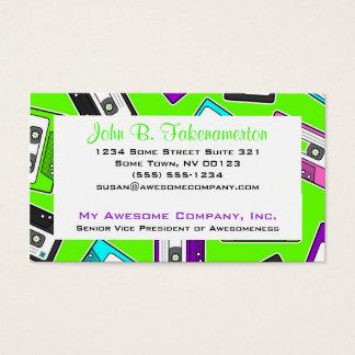 Retro 80's Mixtape Print - Lime Green Business Card