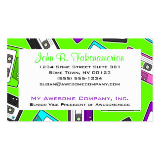 Retro 80's Mixtape Print - Lime Green Business Card Template