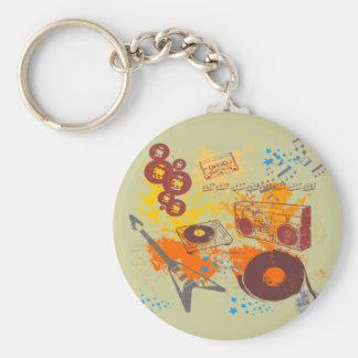 Retro 80's Music Basic Round Button Keychain
