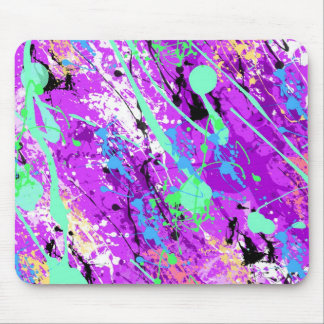 Retro 80's Paint Splatter - Purple Mouse Pad